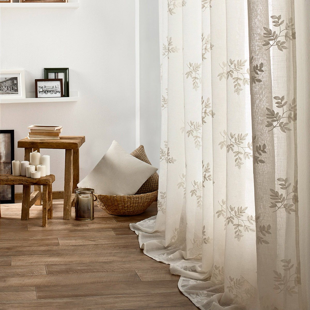 Κουρτίνα (140×280) Με Τρουκς Gofis Home Leaf Off White 532/16