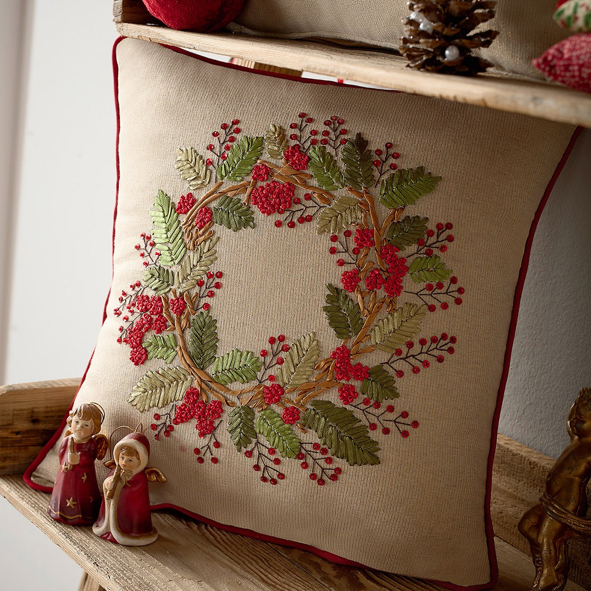 Χριστουγεννιάτικη Μαξιλαροθήκη Gofis Home 611 home   χριστουγεννιάτικα   χριστουγεννιάτικα μαξιλάρια