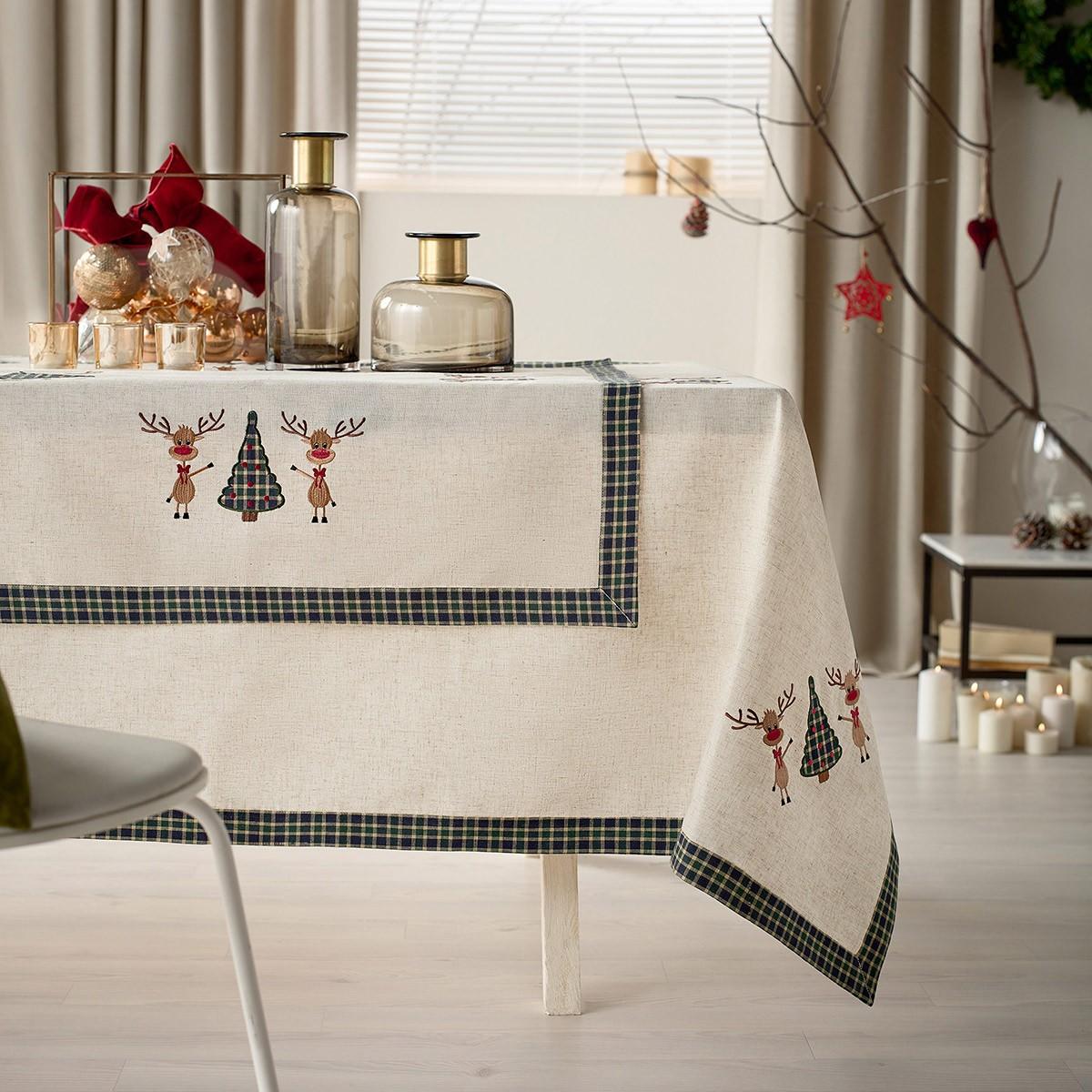 Χριστουγεννιάτικο Τραπεζομάντηλο (135×135) Gofis Home 273