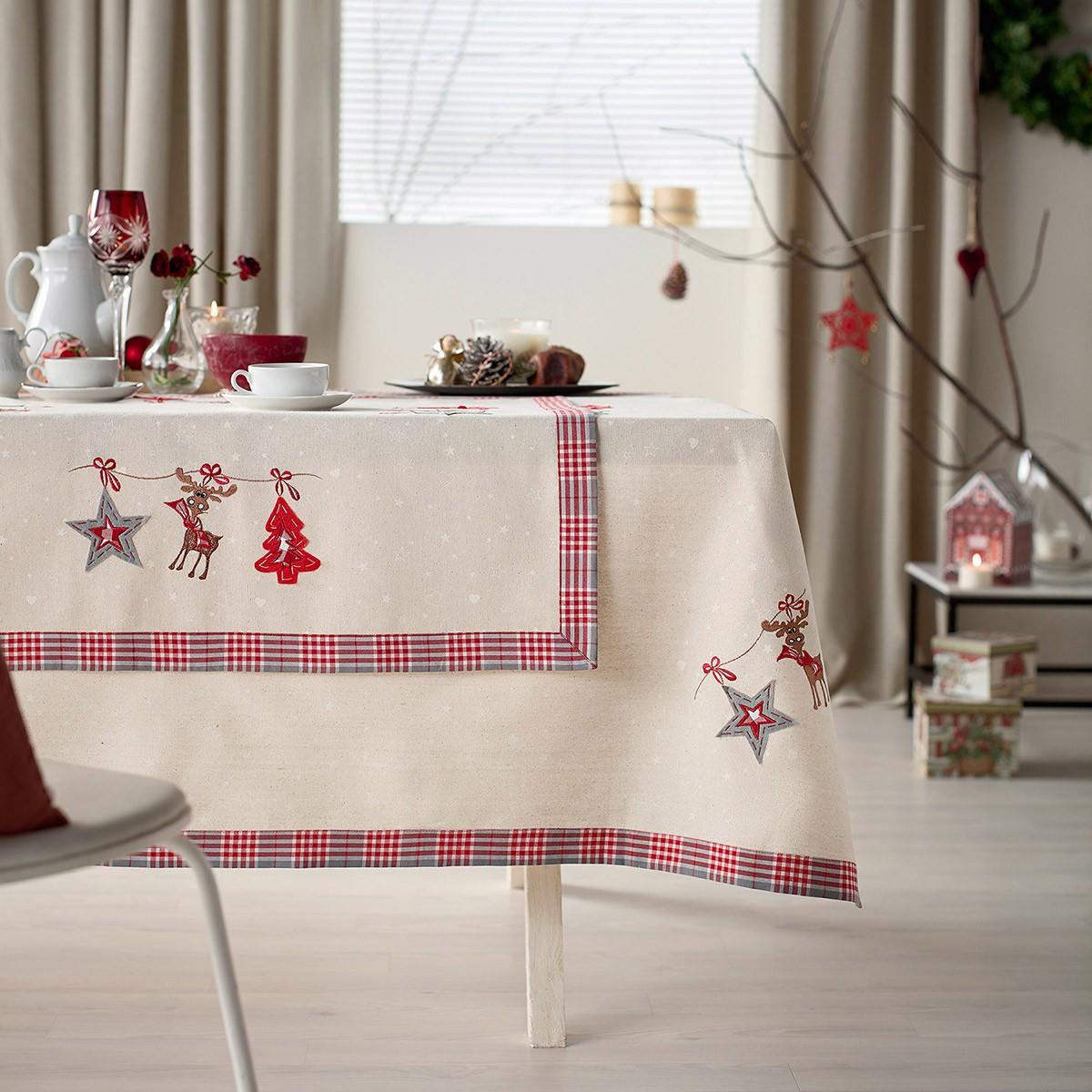 Χριστουγεννιάτικο Τραπεζομάντηλο (135×135) Gofis Home 336