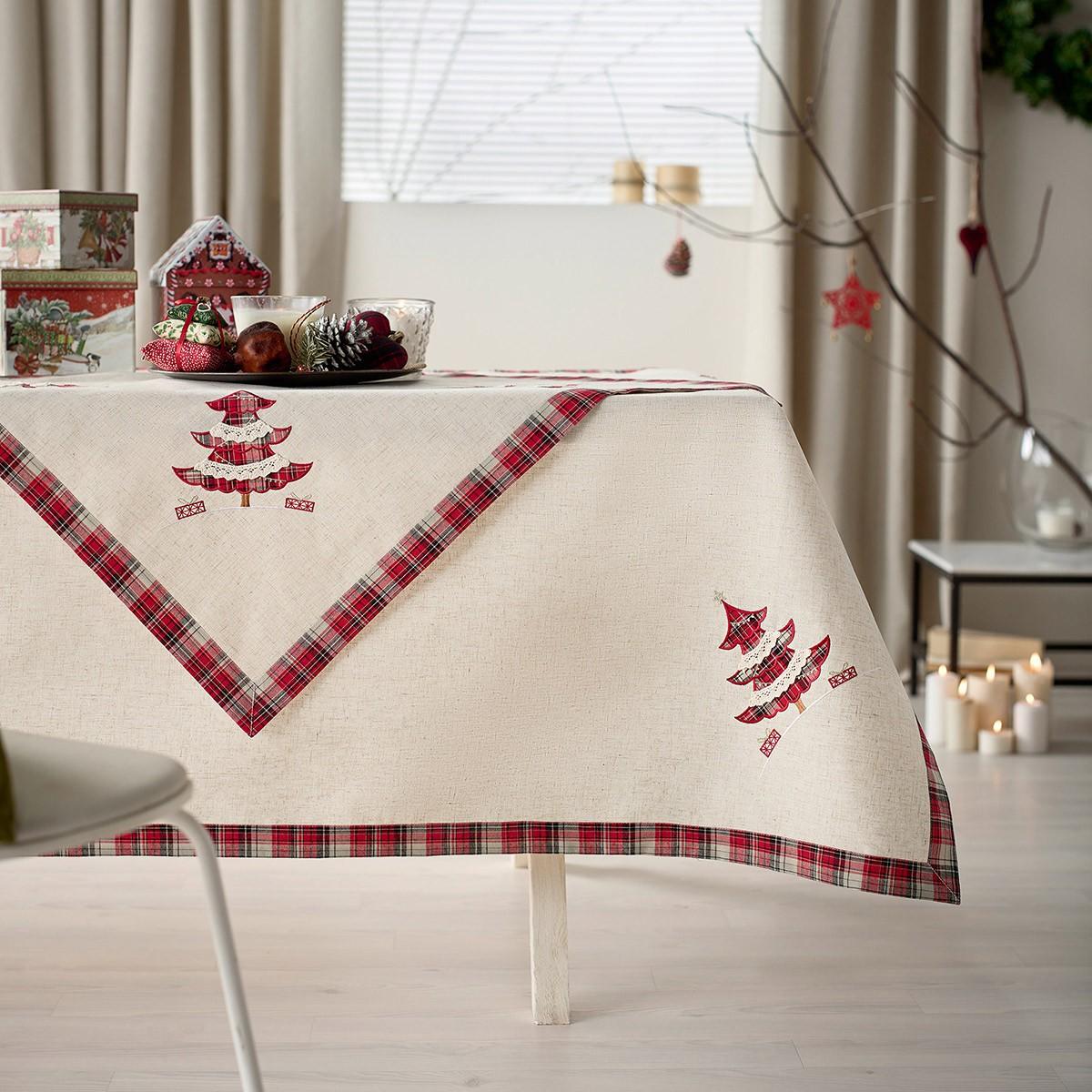 Χριστουγεννιάτικο Τραπεζομάντηλο (135×135) Gofis Home 686