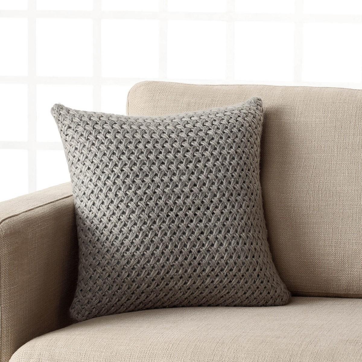 Διακοσμητική Πλεκτή Μαξιλαροθήκη Gofis Home Knit Grey 224/15