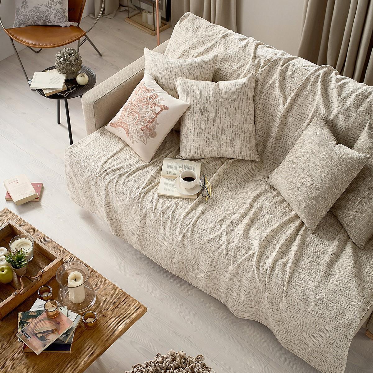 Ριχτάρι Πολυθρόνας (210×180) Gofis Home Fulham Ecru 943/05