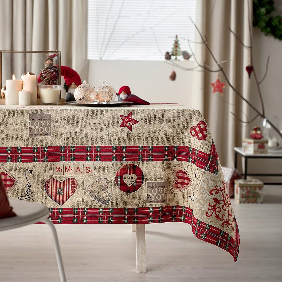 Χριστουγεννιάτικο Τραπεζομάντηλο (135×135) Gofis Home 596