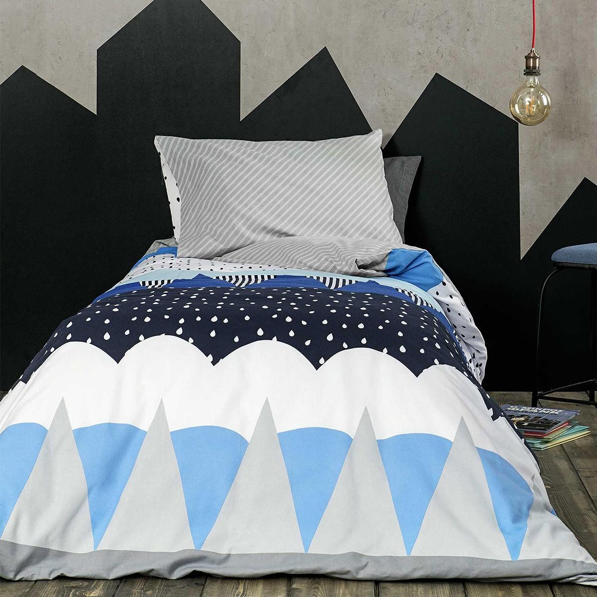 Φανελένια Παπλωματοθήκη Μονή (Σετ) Nima Kids Snowy Blue