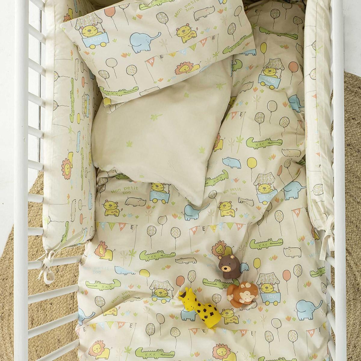 Παπλωματοθήκη Κούνιας (Σετ) Nima Baby Petit Zoo Beige
