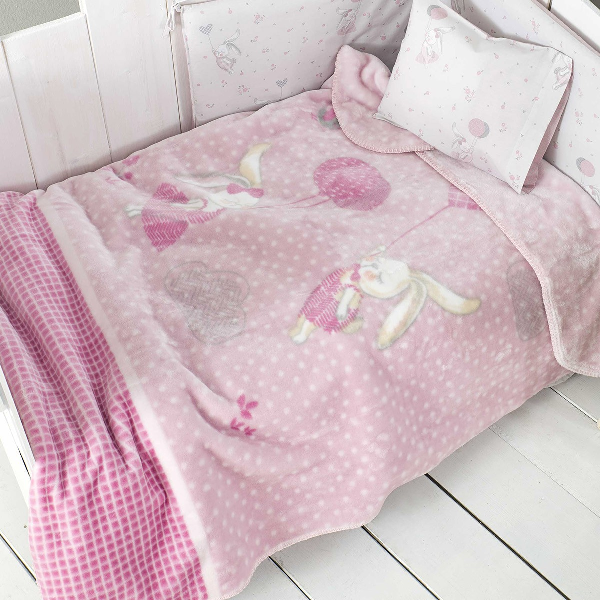 Κουβέρτα Βελουτέ Κούνιας Nima Baby Sugar Bunny