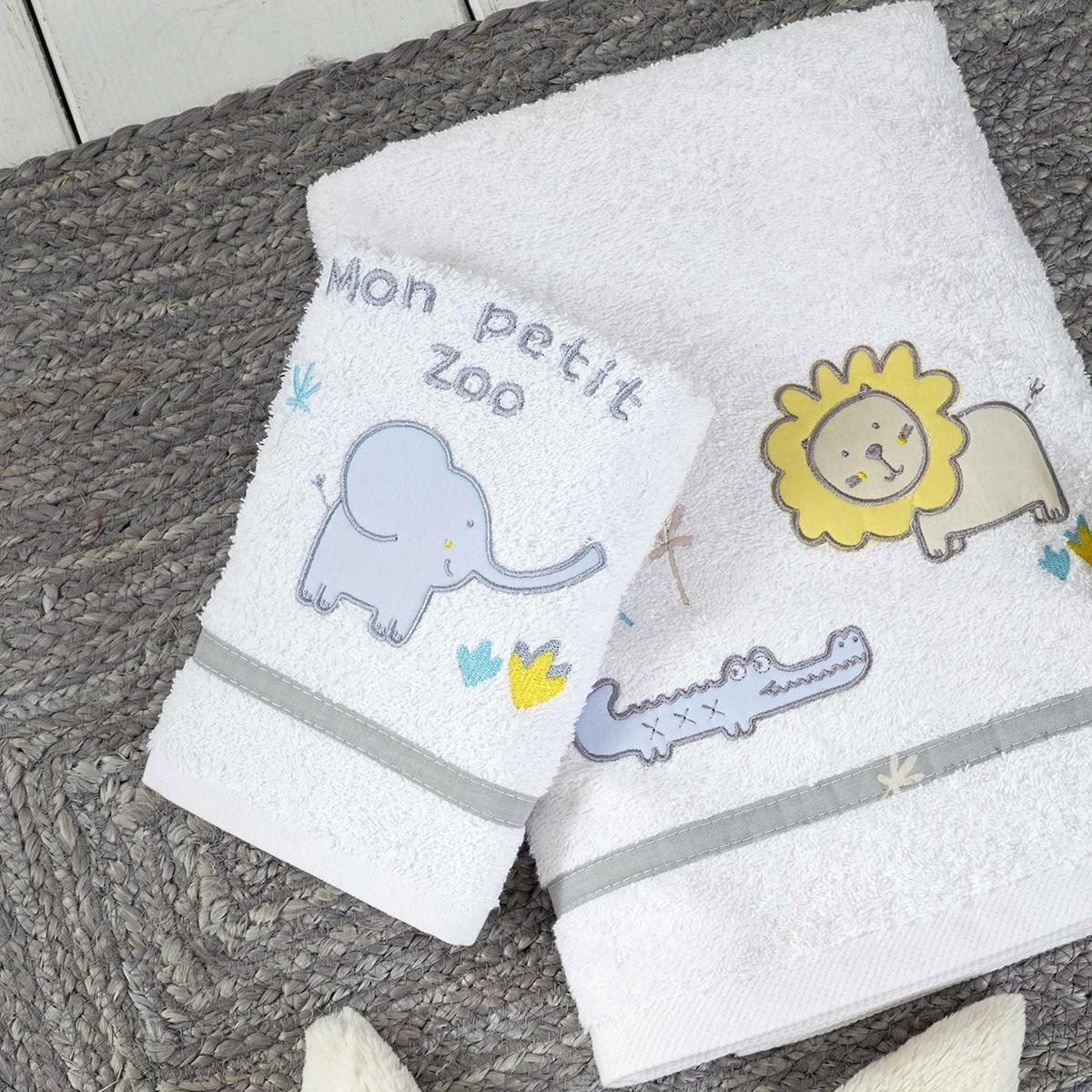 Βρεφικές Πετσέτες (Σετ 2τμχ) Nima Baby Petit Zoo Grey 77105