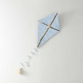 Ξύλινο Χειροποίητος Διακοσμητικός Χαρταετός Kaito Blue