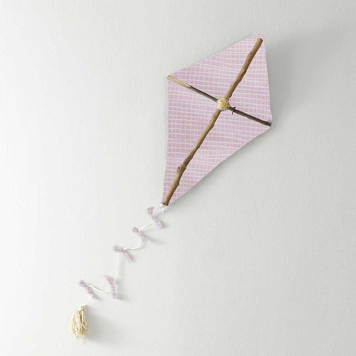 Ξύλινο Χειροποίητος Διακοσμητικός Χαρταετός Kaito Pink