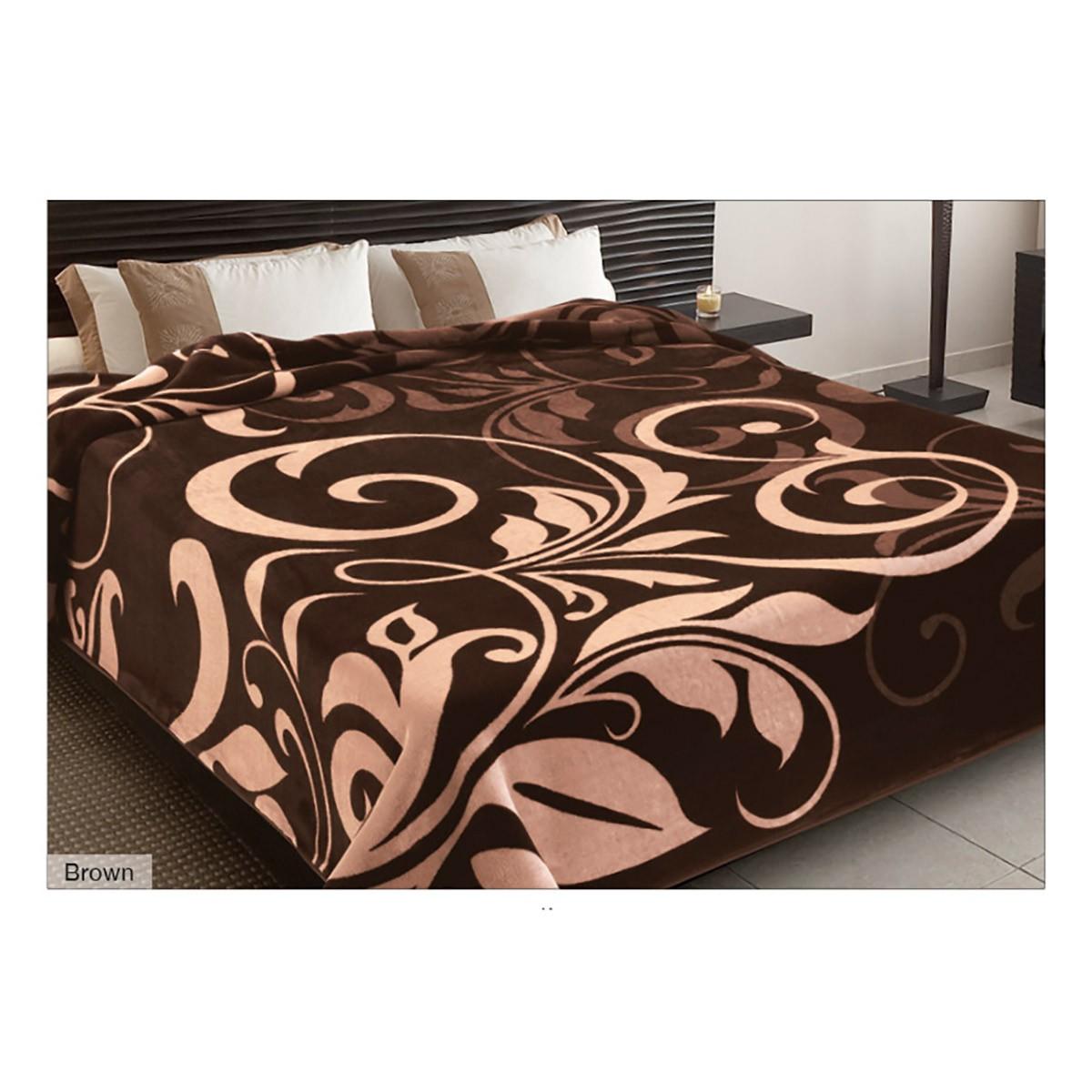 Κουβέρτα Βελουτέ Υπέρδιπλη Belpla Ster 278 Brown