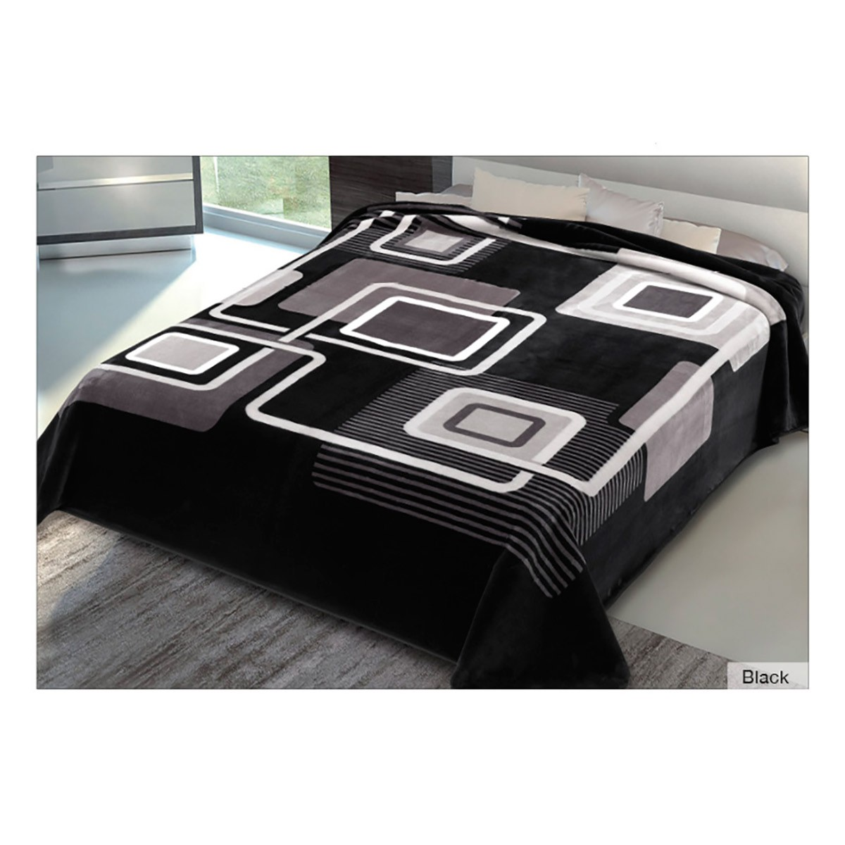 Κουβέρτα Βελουτέ Υπέρδιπλη Belpla Ster 271 Black
