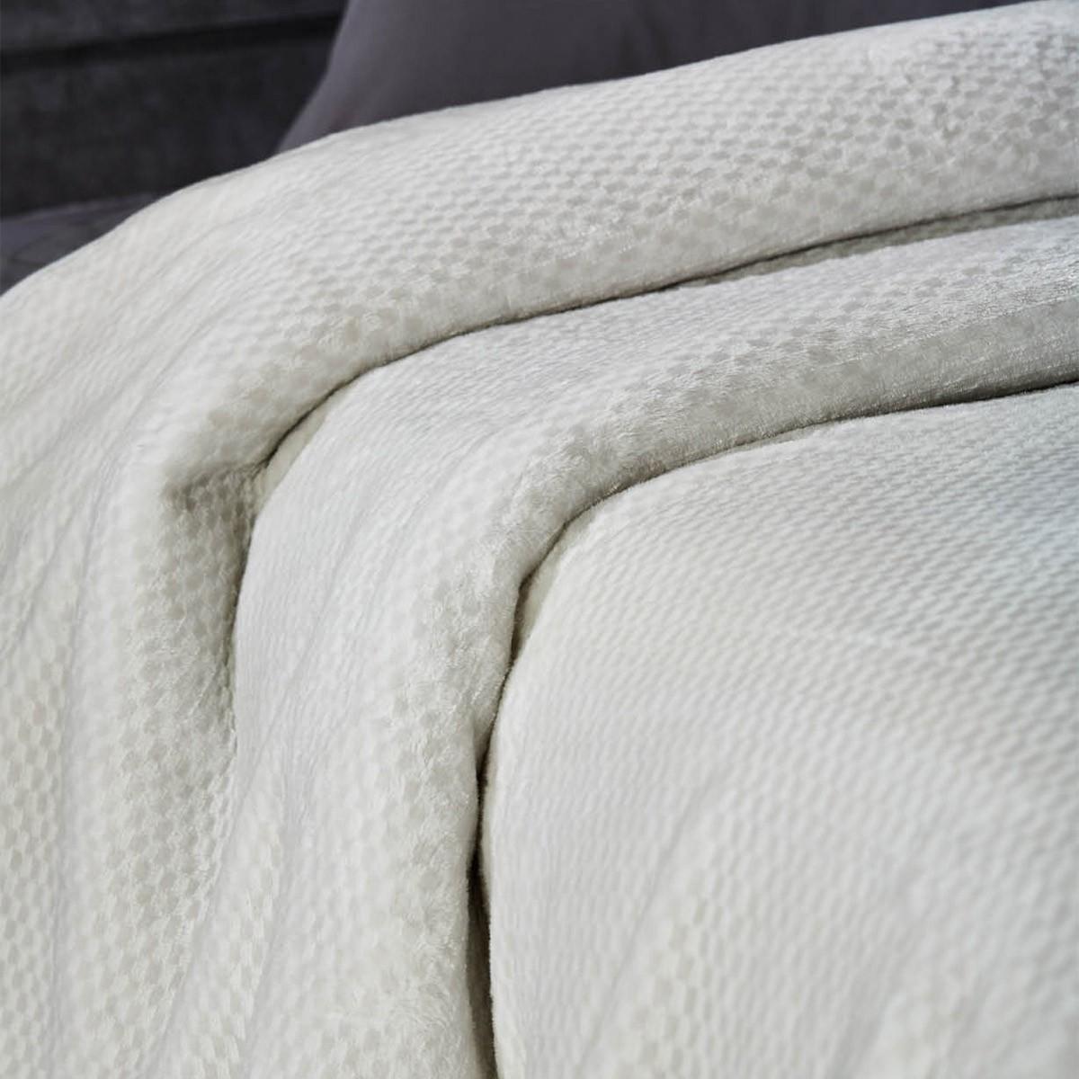 Κουβέρτα Βελουτέ Υπέρδιπλη White Egg KB 1Γ