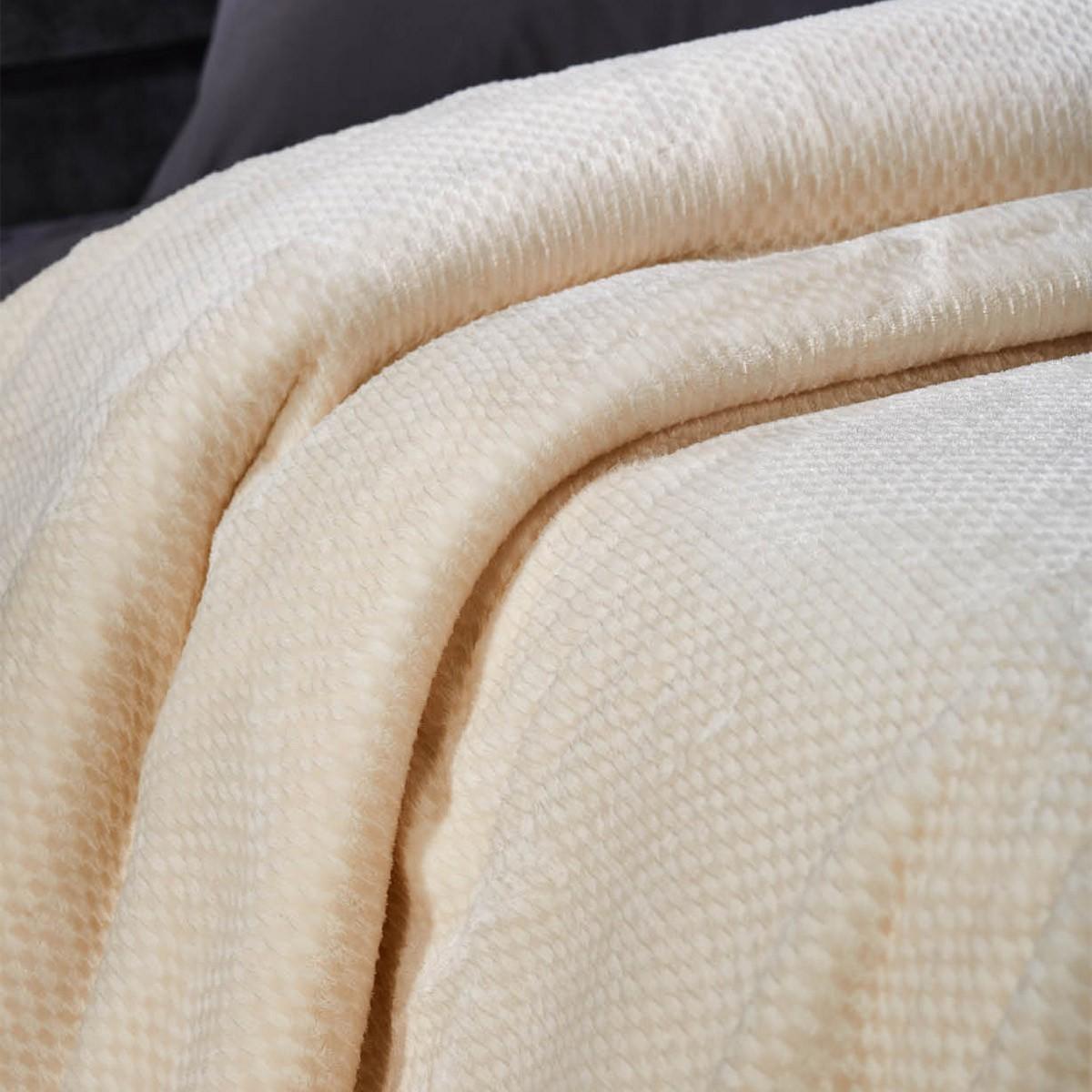 Κουβέρτα Βελουτέ Υπέρδιπλη White Egg KB 1Δ