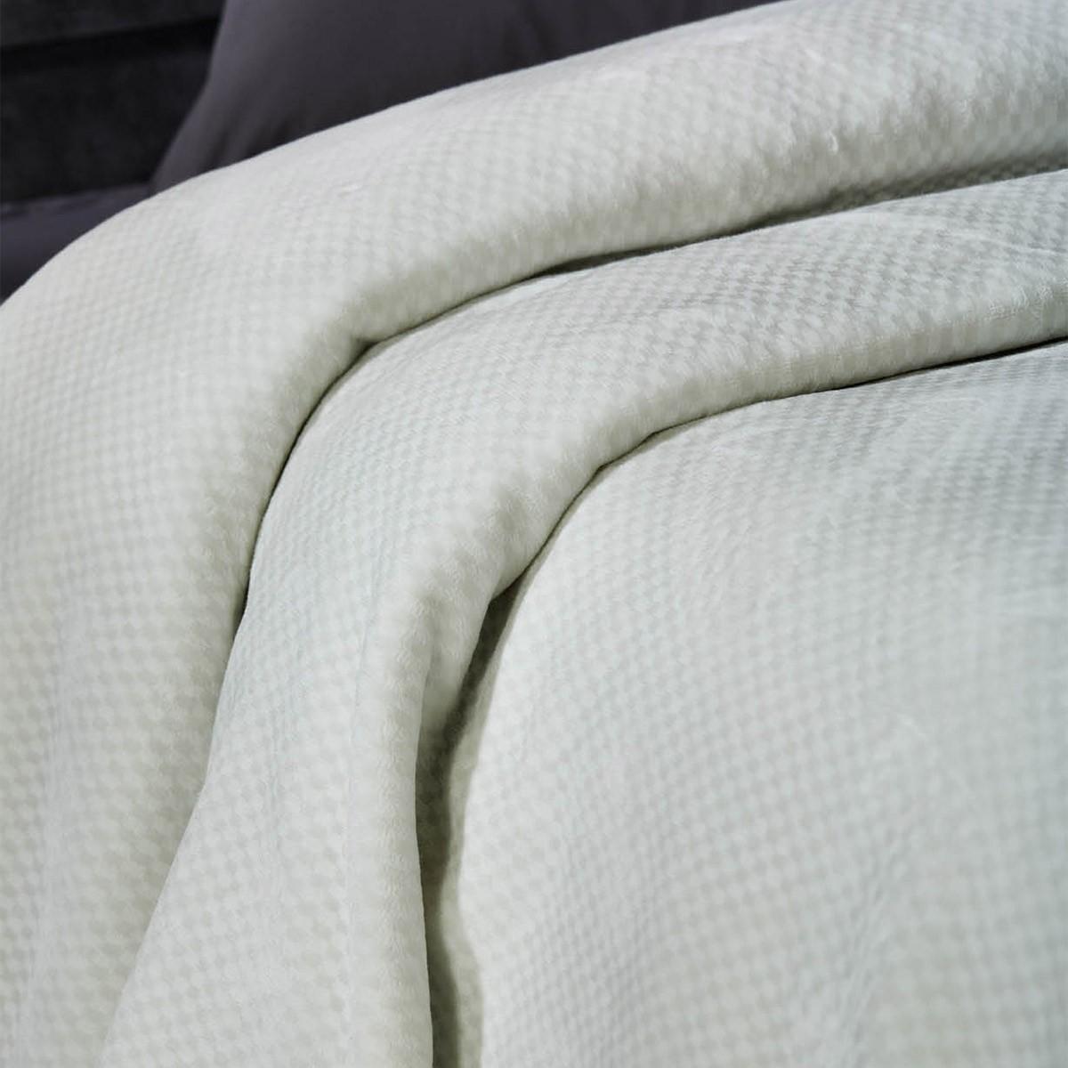Κουβέρτα Βελουτέ Υπέρδιπλη White Egg KB 1Ε