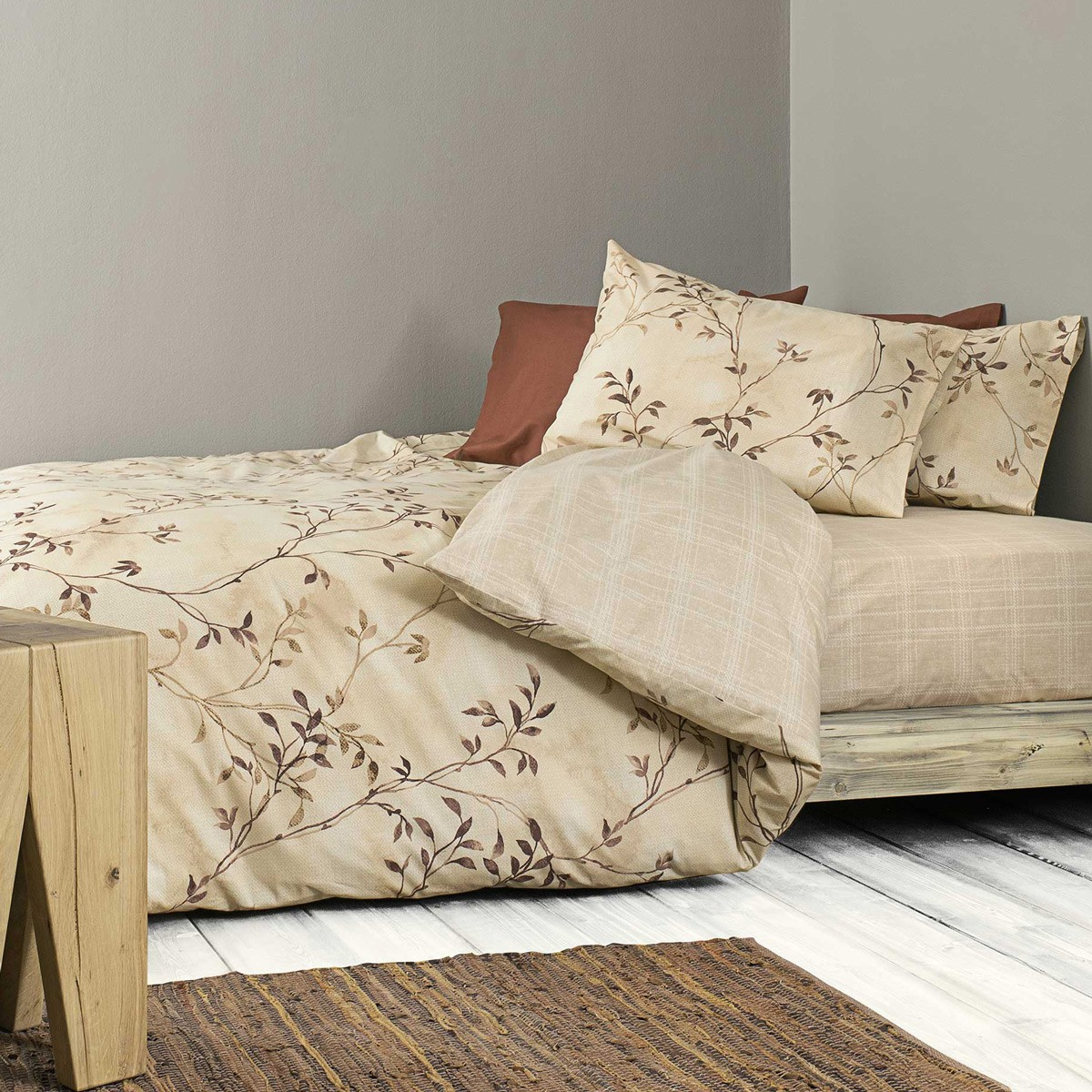 Παπλωματοθήκη Μονή (Σετ) Nima Bed Linen Fiorenza Beige