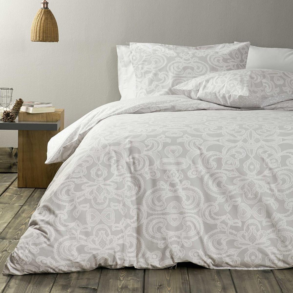 Παπλωματοθήκη Μονή (Σετ) Nima Bed Linen Edita Grey