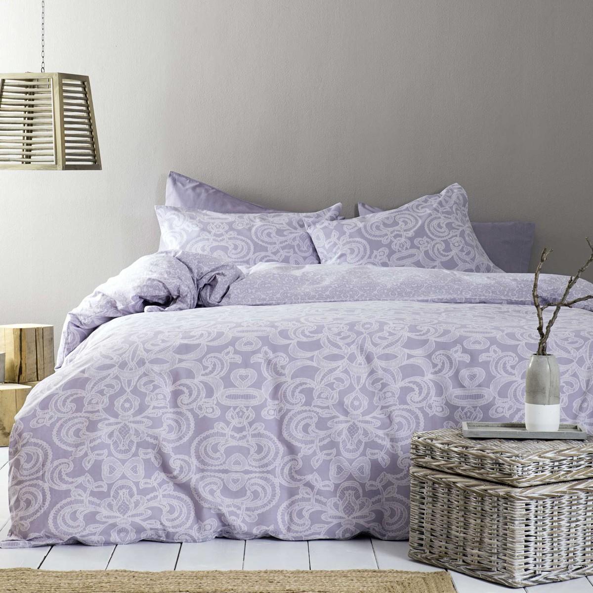 Παπλωματοθήκη Μονή (Σετ) Nima Bed Linen Edita Purple