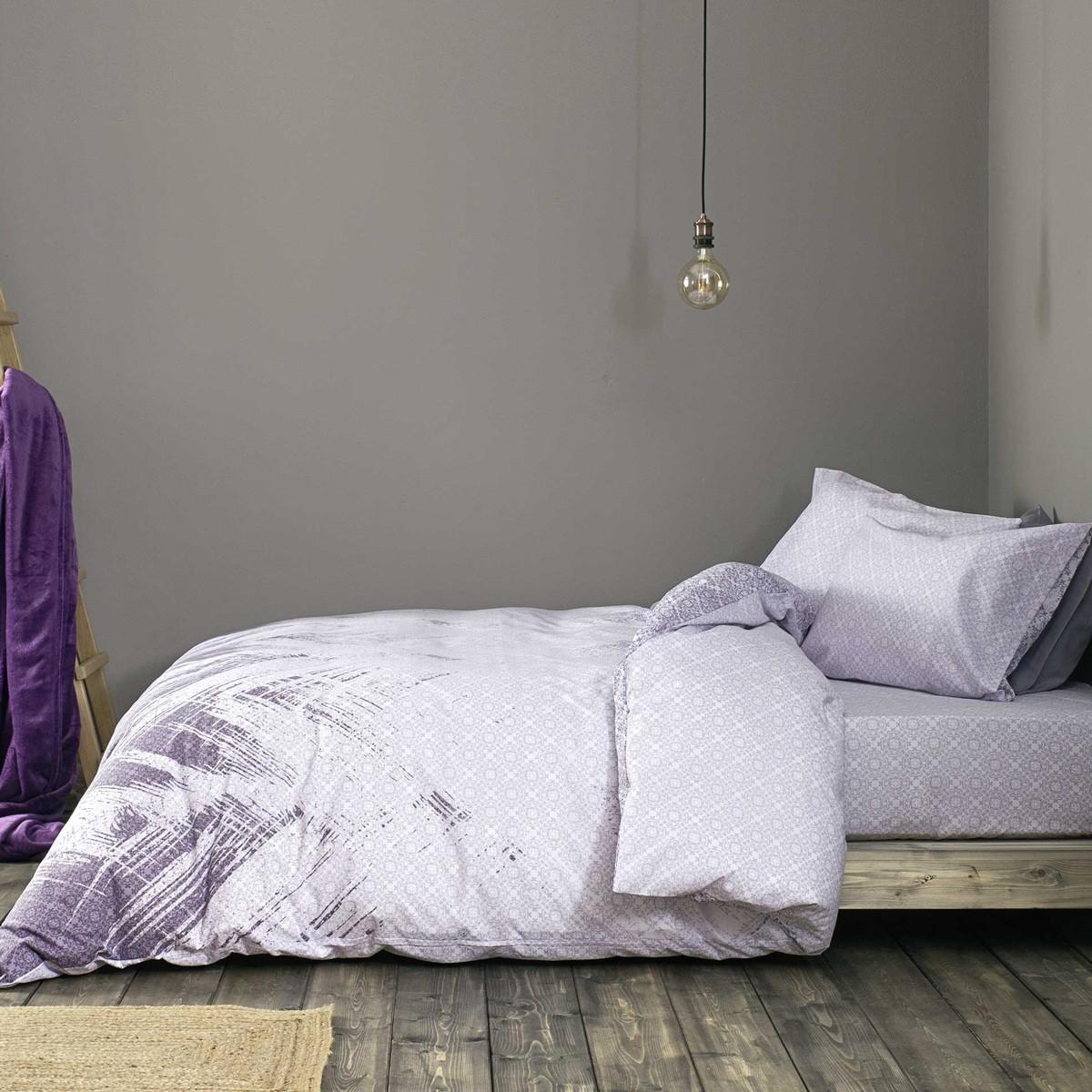 Σεντόνια Υπέρδιπλα (Σετ) Nima Bed Linen Portoro Purple ΜΕ ΛΑΣΤΙΧΟ ΜΕ ΛΑΣΤΙΧΟ