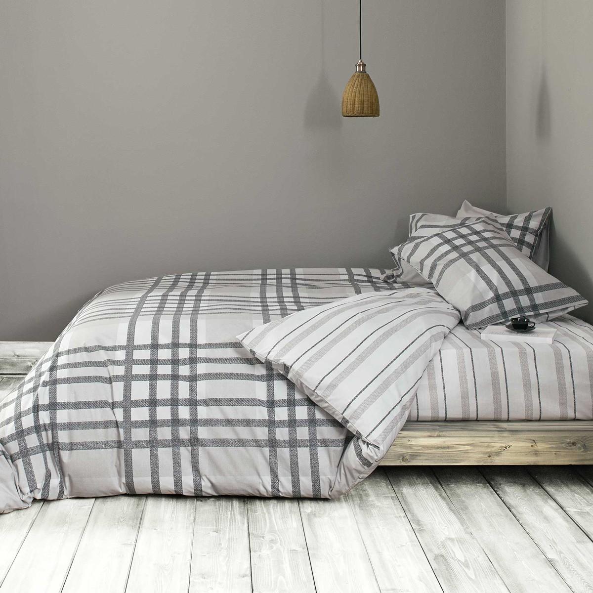 Παπλωματοθήκη Υπέρδιπλη (Σετ) Nima Bed Linen Bardi Grey