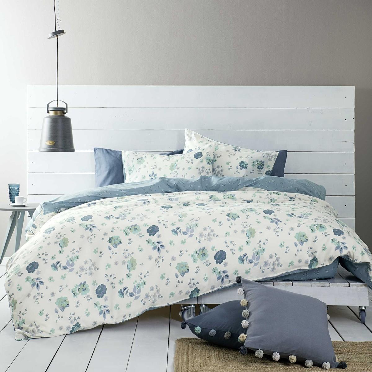Παπλωματοθήκη Μονή (Σετ) Nima Bed Linen Almeria Blue