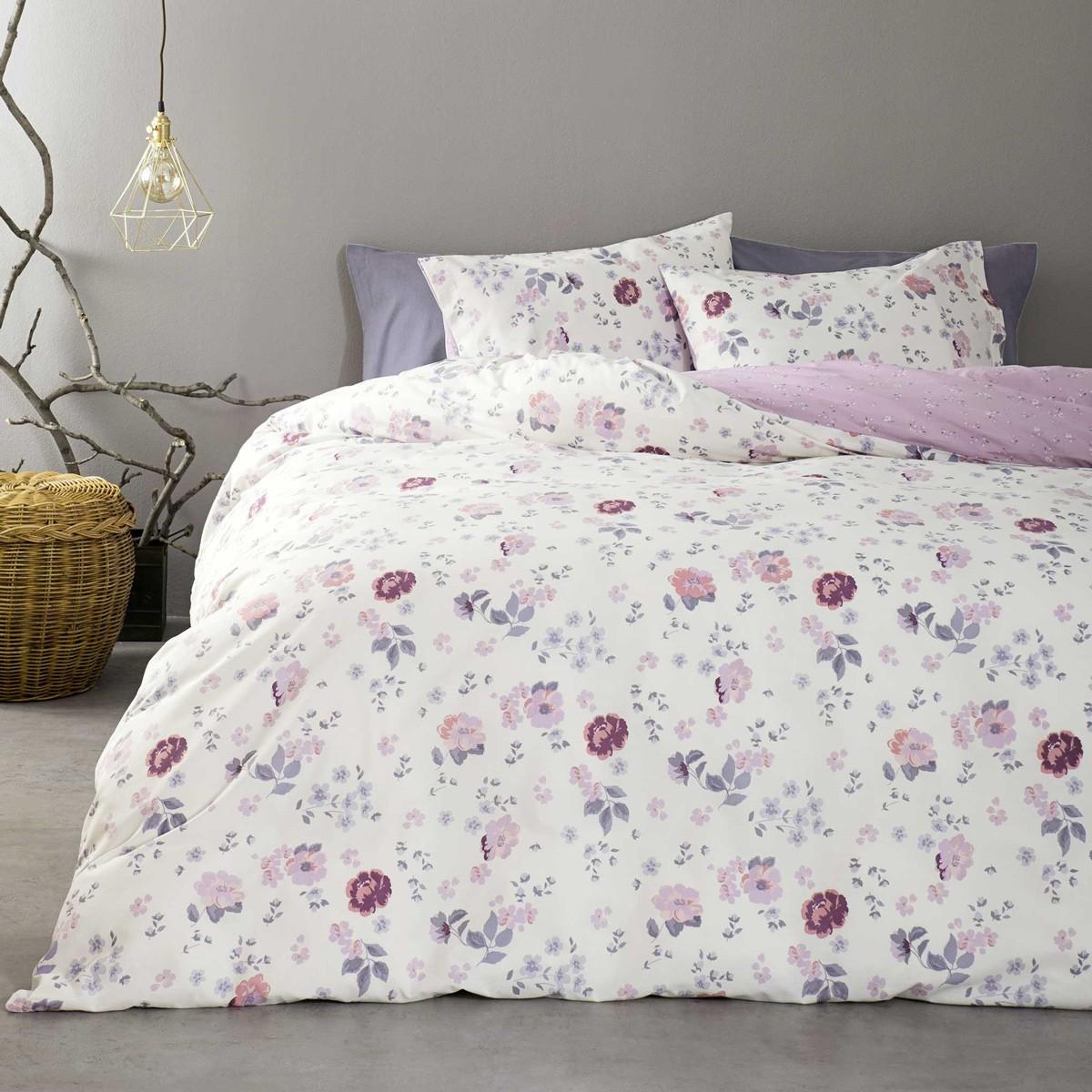 Παπλωματοθήκη Υπέρδιπλη (Σετ) Nima Bed Linen Almeria Pink