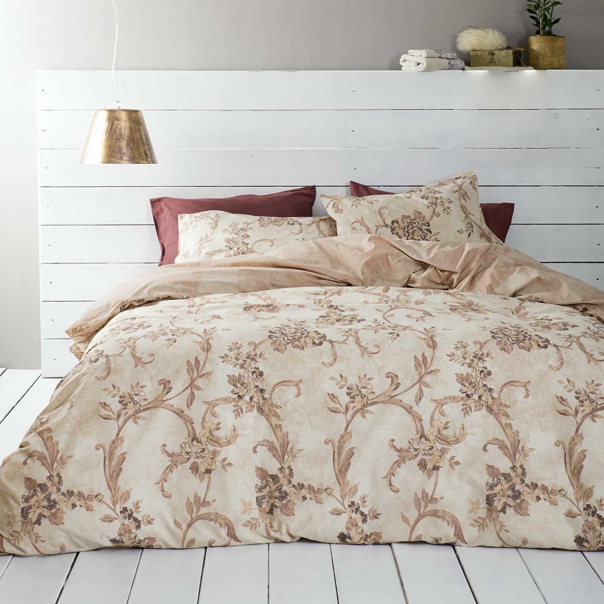 Παπλωματοθήκη Μονή (Σετ) Nima Bed Linen Segovia Beige