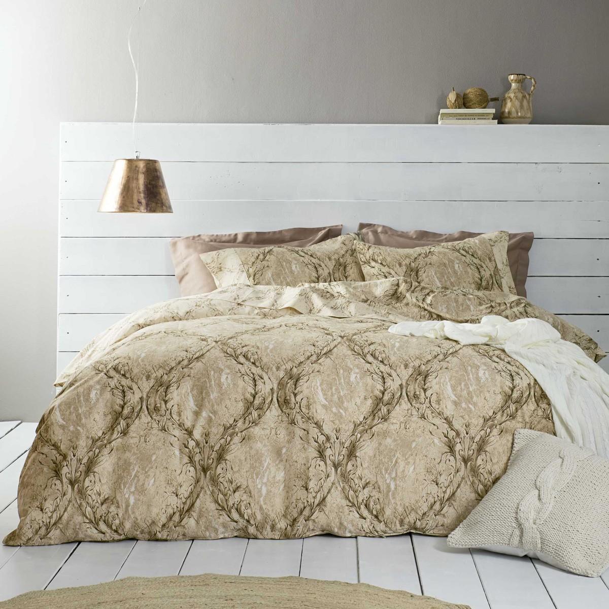 Παπλωματοθήκη Υπέρδιπλη (Σετ) Nima Bed Linen Romano Beige