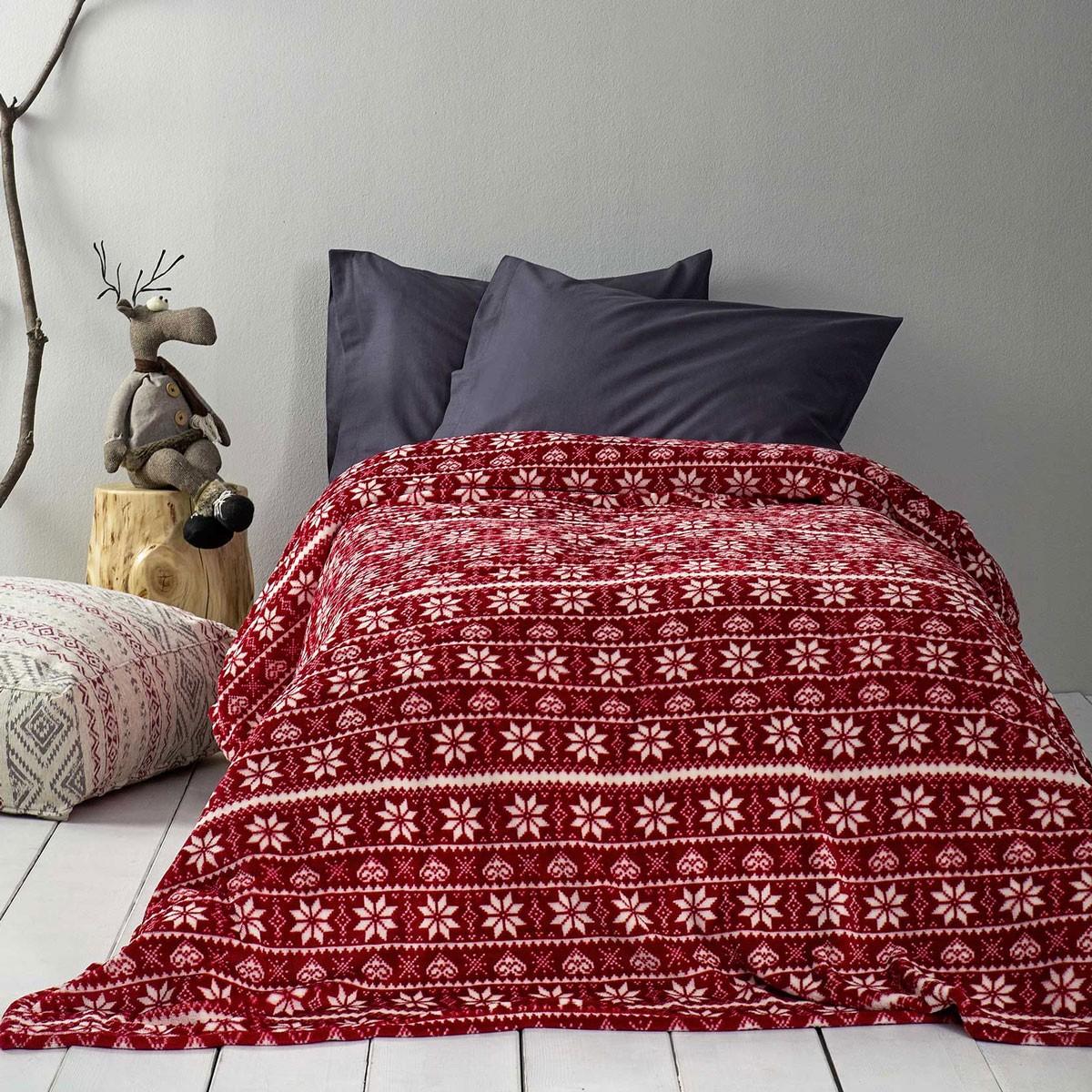 Χριστουγεννιάτικη Κουβέρτα Fleece Μονή Nima Mistletoe