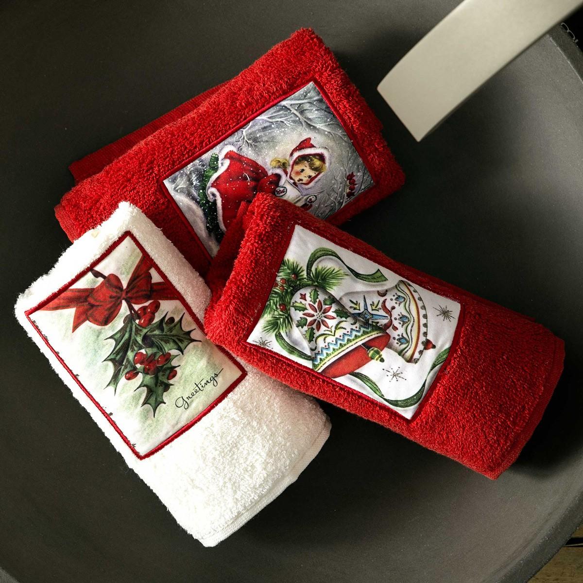 Χριστουγεννιάτικες Πετσέτες Χεριών (Σετ 3τμχ) Nima Angel's Songs