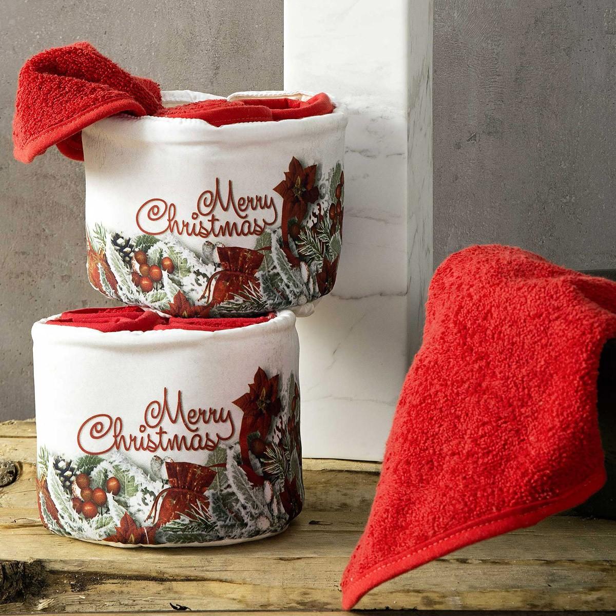 Χριστουγεννιάτικες Πετσέτες Δώρου (Σετ 4τμχ) Nima Christmas Eve