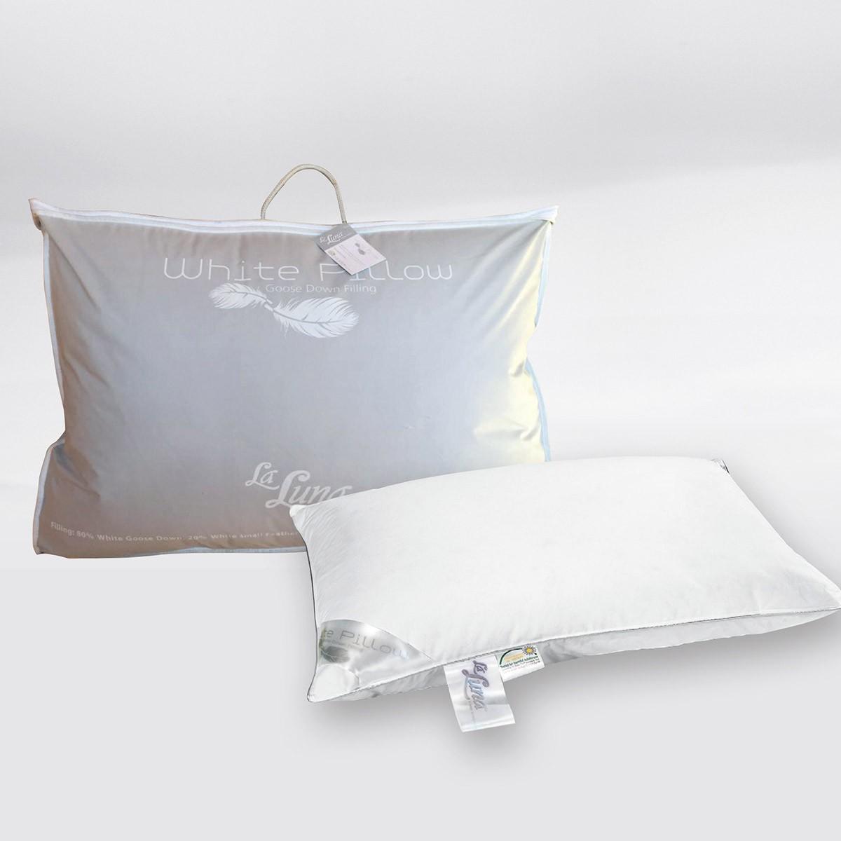 Μαξιλάρι Ύπνου Πουπουλένιο La Luna White Pillow 80/20