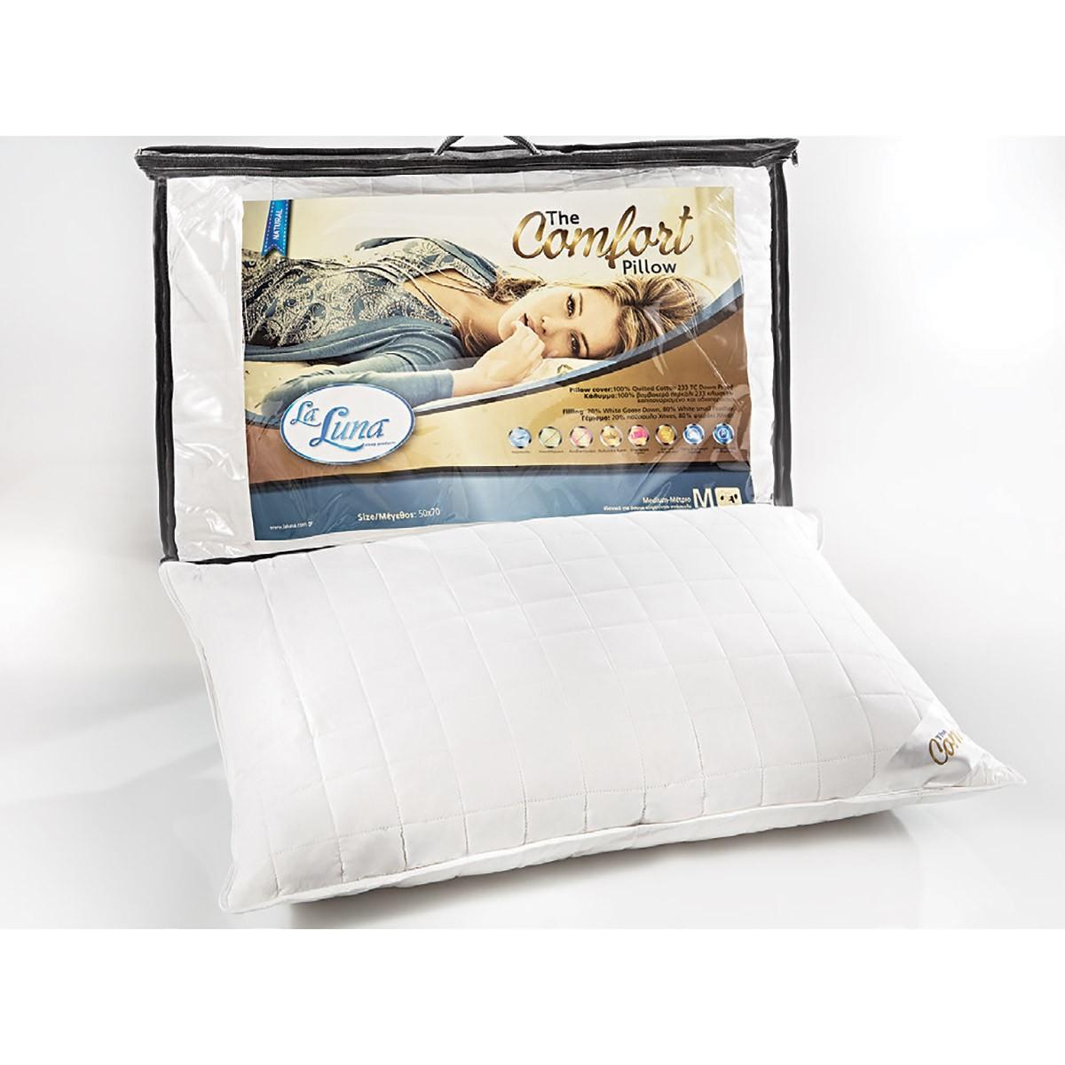 Μαξιλάρι Ύπνου Πουπουλένιο La Luna New Comfort Pillow 20/80