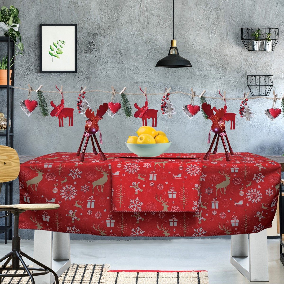 Χριστουγεννιάτικο Τραπεζομάντηλο (140×140) Das Home Kitchen 549