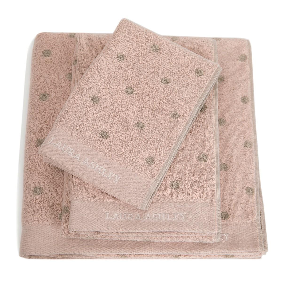 Πετσέτες Μπάνιου (Σετ 3τμχ) Laura Ashley Polka Old Rose