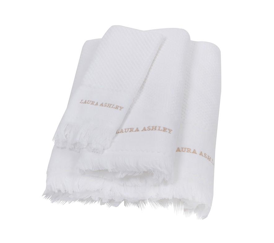 Πετσέτα Προσώπου (50×100) Laura Ashley Fringes White