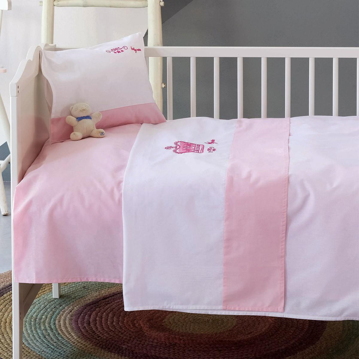 Σεντόνια Κούνιας (Σετ) Makis Tselios Crown Pink