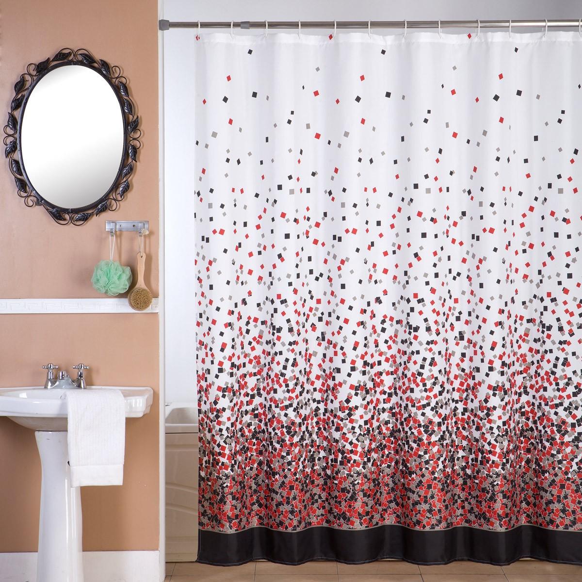Κουρτίνα Μπάνιου (180x180) Viopros Μοζάικ Κόκκινο