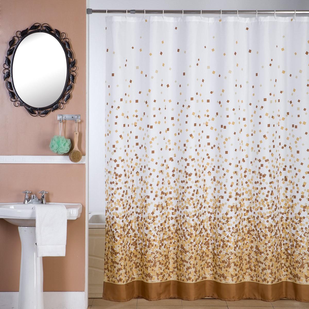 Κουρτίνα Μπάνιου (180×180) Viopros Μοζάικ Μπεζ