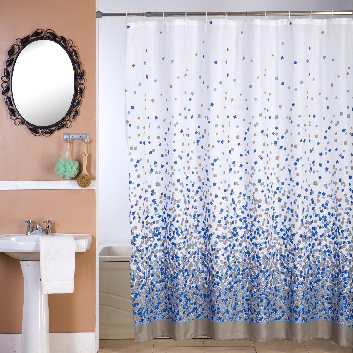 Κουρτίνα Μπάνιου (180x180) Viopros Μοζάικ Μπλε