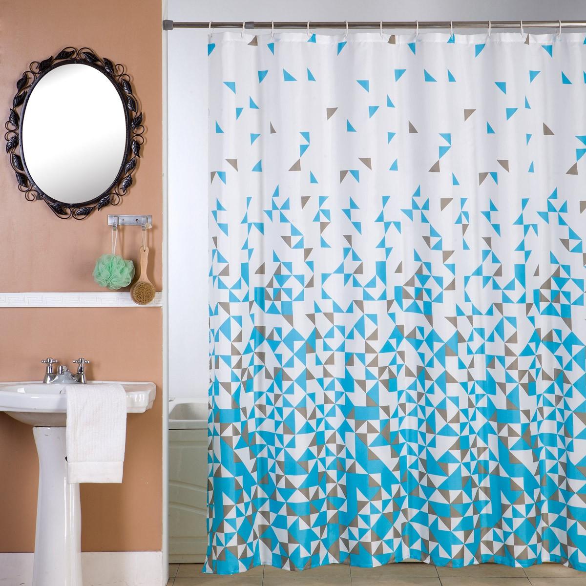Κουρτίνα Μπάνιου (180×180) Viopros Μόσιον Τυρκουάζ
