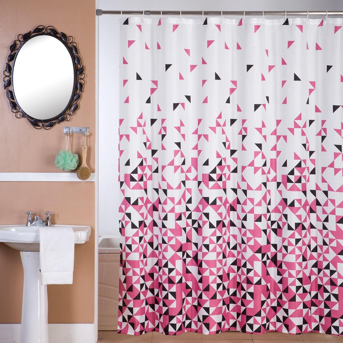 Κουρτίνα Μπάνιου (180×180) Viopros Μόσιον Φούξια