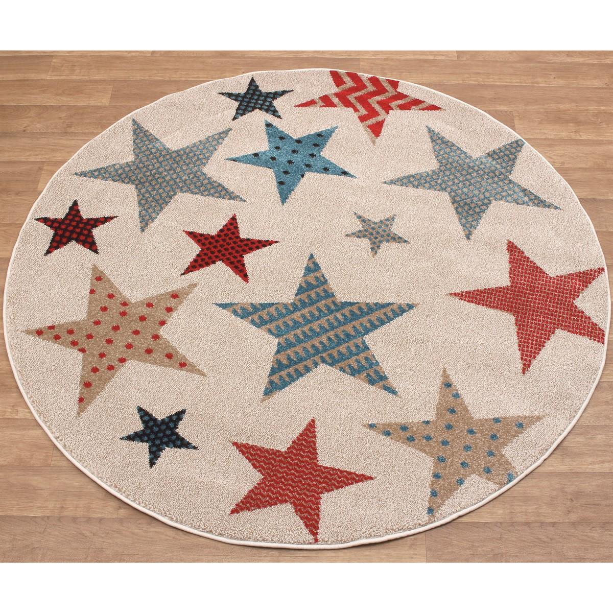 Παιδικό Στρογγυλό Χαλί (Φ160) Viopros Premium Carpets Αστέρια