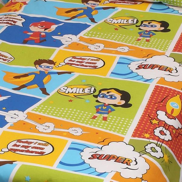 Κουβερλί Μονό (Σετ) Viopros Kid Cotton Κόμικ