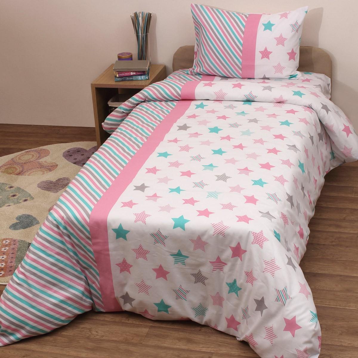 Κουβερλί Κούνιας (Σετ) Viopros Baby Cotton Άστρον Ροζ