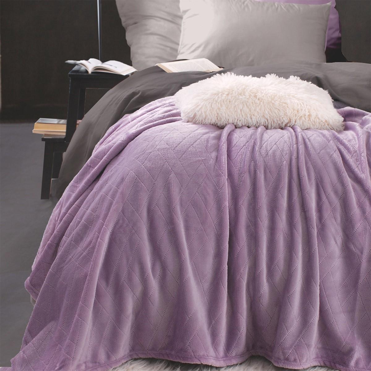 Κουβέρτα Fleece Υπέρδιπλη Rythmos Sonic Lilac