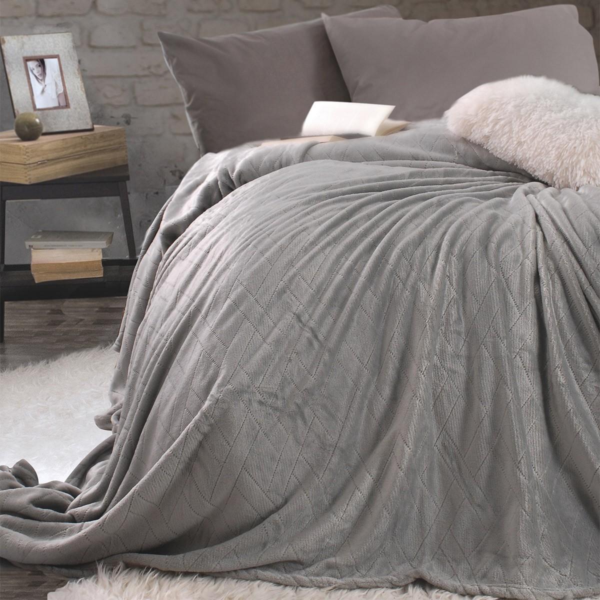 Κουβέρτα Fleece Μονή Rythmos Sonic Grey