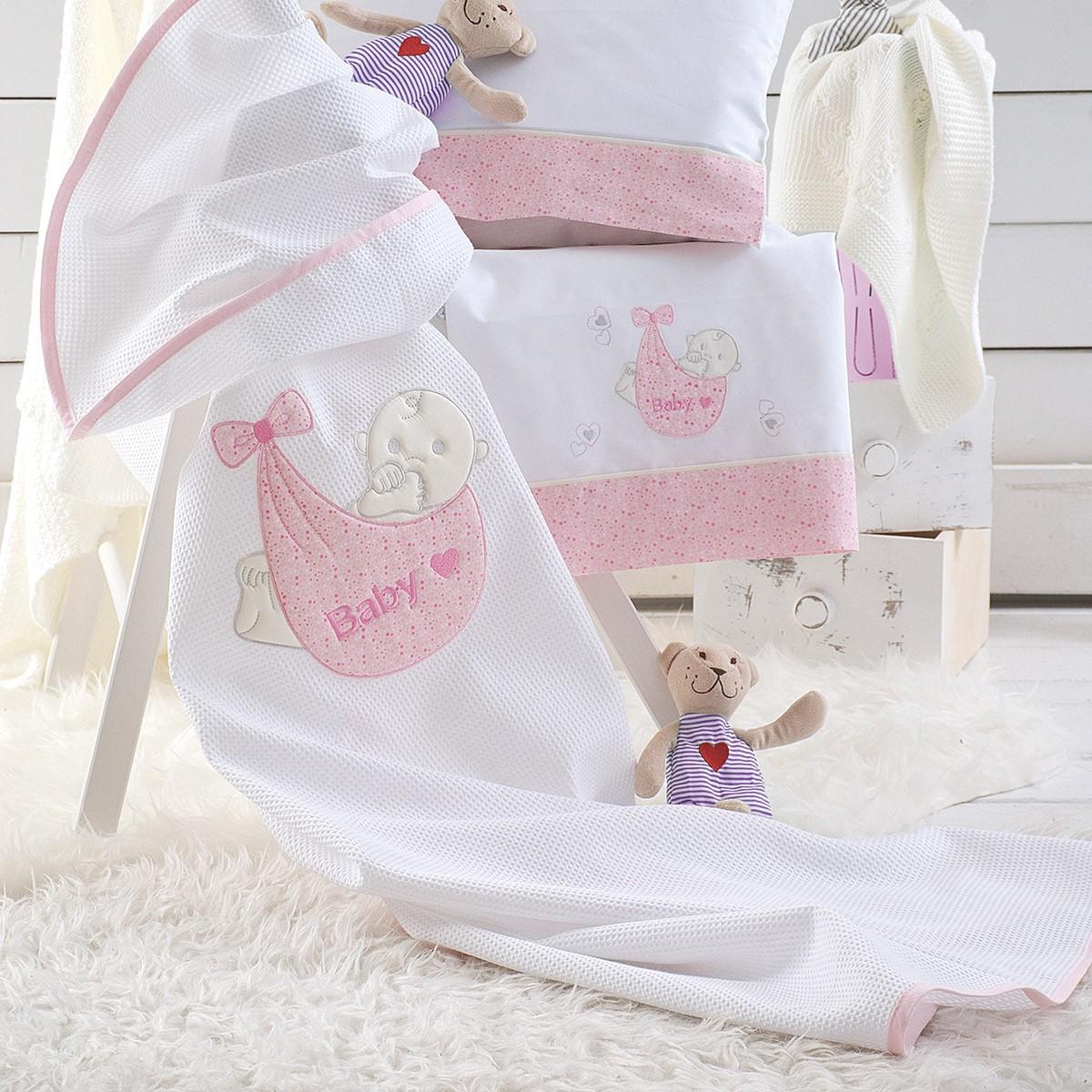Κουβέρτα Πικέ Κούνιας Rythmos Snuz Pink