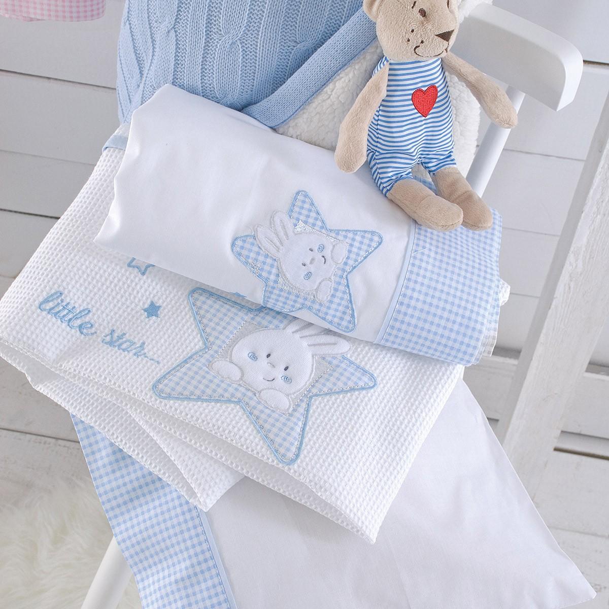 Κουβέρτα Πικέ Κούνιας Rythmos My Bunny Ciel