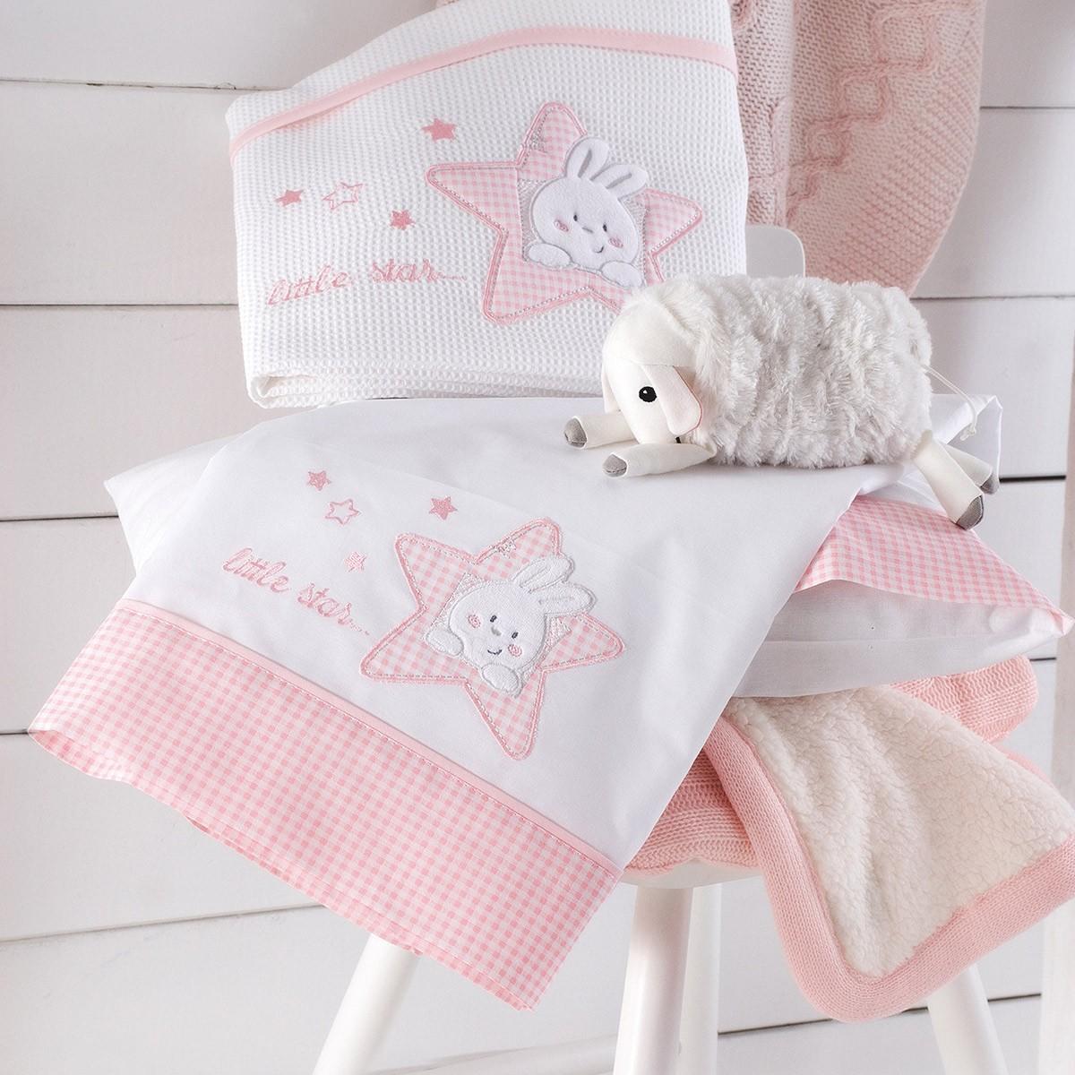 Σεντόνια Κούνιας (Σετ) Rythmos My Bunny Pink